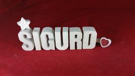 Beton, Steinguss Buchstaben 3D Deko Namen SIGURD als Geschenk verpackt!