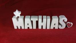Beton, Steinguss Buchstaben 3D Deko Namen MATHIAS als Geschenk verpackt!