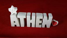 Beton, Steinguss Buchstaben 3D Deko Stern Namen ATHEN als Geschenk verpackt!
