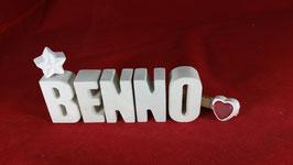 Beton, Steinguss Buchstaben 3D Deko Namen BENNO als Geschenk verpackt!
