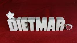 Beton, Steinguss Buchstaben 3D Deko Namen DIETMAR als Geschenk verpackt!