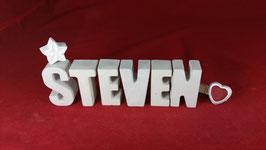 Beton, Steinguss Buchstaben 3D Deko Namen STEVEN als Geschenk verpackt!