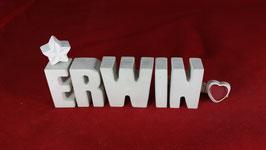 Beton, Steinguss Buchstaben 3D Deko Namen ERWIN als Geschenk verpackt!