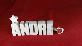Beton, Steinguss Buchstaben 3D Deko Namen ANDRE als Geschenk verpackt!