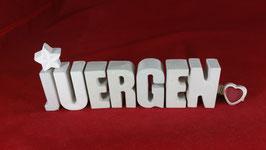 Beton, Steinguss Buchstaben 3D Deko Namen JUERGEN als Geschenk verpackt!