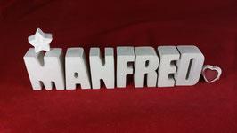 Beton, Steinguss Buchstaben 3D Deko Namen MANFRED als Geschenk verpackt!
