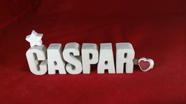 Beton, Steinguss Buchstaben 3D Deko Namen CASPAR als Geschenk verpackt!
