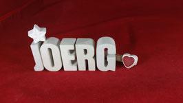 Beton, Steinguss Buchstaben 3D Deko Namen JOERG als Geschenk verpackt!