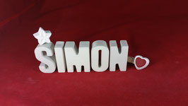 Beton, Steinguss Buchstaben 3D Deko Namen SIMON als Geschenk verpackt!