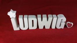 Beton, Steinguss Buchstaben 3D Deko Namen LUDWIG als Geschenk verpackt!