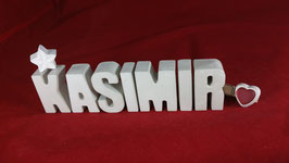 Beton, Steinguss Buchstaben 3D Deko Namen KASIMIR als Geschenk verpackt!