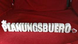 Beton, Steinguss Buchstaben 3D Deko Stern Schriftzug PLANUNGSBUERO als Geschenk verpackt!