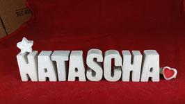 Beton, Steinguss Buchstaben 3D Deko Namen NATASCHA als Geschenk verpackt mit Stern und Herzklammer!