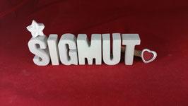 Beton, Steinguss Buchstaben 3D Deko Namen SIGMUT als Geschenk verpackt!