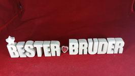 Beton, Steinguss Buchstaben 3D Deko Stern Namen BESTER BRUDER als Geschenk verpackt!