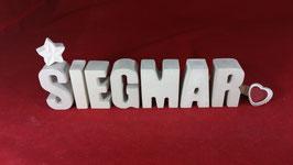 Beton, Steinguss Buchstaben 3D Deko Namen SIEGMAR als Geschenk verpackt!