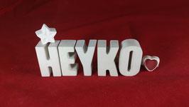 Beton, Steinguss Buchstaben 3D Deko Namen HEYKO als Geschenk verpackt!