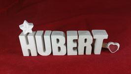 Beton, Steinguss Buchstaben 3D Deko Namen HUBERT als Geschenk verpackt!
