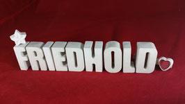 Beton, Steinguss Buchstaben 3D Deko Namen FRIEDHOLD als Geschenk verpackt!