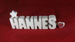 Beton, Steinguss Buchstaben 3D Deko Namen HANNES als Geschenk verpackt!