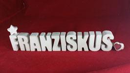 Beton, Steinguss Buchstaben 3D Deko Namen FRANZISKUS als Geschenk verpackt!