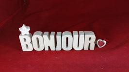 Beton, Steinguss Buchstaben 3D Deko Stern Namen BONJOUR als Geschenk verpackt!