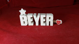 Beton, Steinguss Buchstaben 3D Deko Stern Schriftzug BEYER  als Geschenk verpackt!