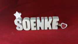 Beton, Steinguss Buchstaben 3D Deko Namen SOENKE als Geschenk verpackt!