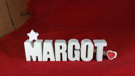 Beton, Steinguss Buchstaben 3D Deko Namen MARGOT als Geschenk verpackt mit Stern und Herzklammer!