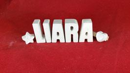 Beton, Steinguss Buchstaben 3D Deko Namen LIARA als Geschenk verpackt mit Stern und Herzklammer!
