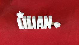 Beton, Steinguss Buchstaben 3D Deko Namen LILIAN als Geschenk verpackt mit Stern und Herzklammer!