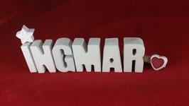 Beton, Steinguss Buchstaben 3D Deko Namen INGMAR als Geschenk verpackt!