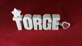 Beton, Steinguss Buchstaben 3D Deko Namen TORGE als Geschenk verpackt!