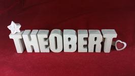 Beton, Steinguss Buchstaben 3D Deko Namen THEOBERT als Geschenk verpackt!