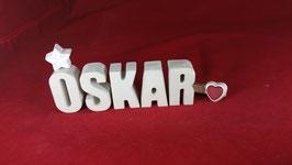 Beton, Steinguss Buchstaben 3D Deko Namen OSKAR als Geschenk verpackt!