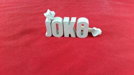 Beton, Steinguss Buchstaben 3D Deko Namen JOKO als Geschenk verpackt!