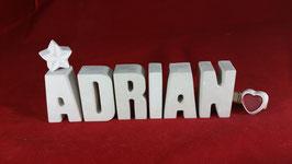 Beton, Steinguss Buchstaben 3D Deko Namen ADRIAN als Geschenk verpackt!