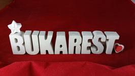 Beton, Steinguss Buchstaben 3D Deko Stern Namen BUKAREST als Geschenk verpackt!