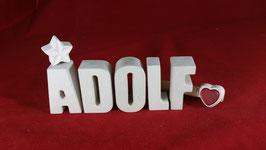 Beton, Steinguss Buchstaben 3D Deko Namen ADOLF als Geschenk verpackt!