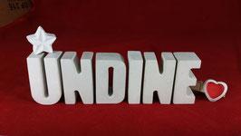 Beton, Steinguss Buchstaben 3D Deko Namen UNDINE als Geschenk verpackt mit Stern und Herzklammer!