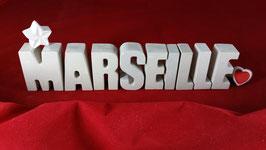 Beton, Steinguss Buchstaben 3D Deko Stern Namen MARSEILLE als Geschenk verpackt!