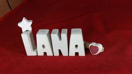 Beton, Steinguss Buchstaben 3D Deko Namen LANA als Geschenk verpackt mit Stern und Herzklammer!
