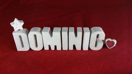 Beton, Steinguss Buchstaben 3D Deko Namen DOMINIC als Geschenk verpackt!