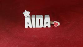 Beton, Steinguss Buchstaben 3D Deko Stern Schriftzug AIDA als Geschenk verpackt!