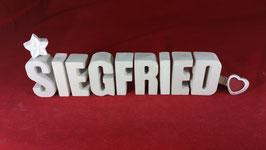 Beton, Steinguss Buchstaben 3D Deko Namen SIEGFRIED als Geschenk verpackt!