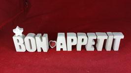 Beton, Steinguss Buchstaben 3D Deko Stern Namen BON APPETIT als Geschenk verpackt!