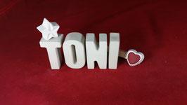 Beton, Steinguss Buchstaben 3D Deko Namen TONI als Geschenk verpackt!