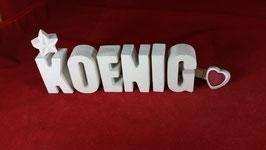 Beton, Steinguss Buchstaben 3D Deko Stern Namen KOENIG als Geschenk verpackt!