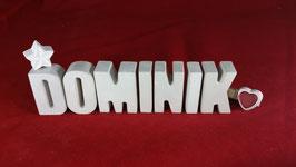 Beton, Steinguss Buchstaben 3D Deko Namen DOMINIK als Geschenk verpackt!