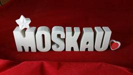 Beton, Steinguss Buchstaben 3D Deko Stern Namen MOSKAU als Geschenk verpackt!